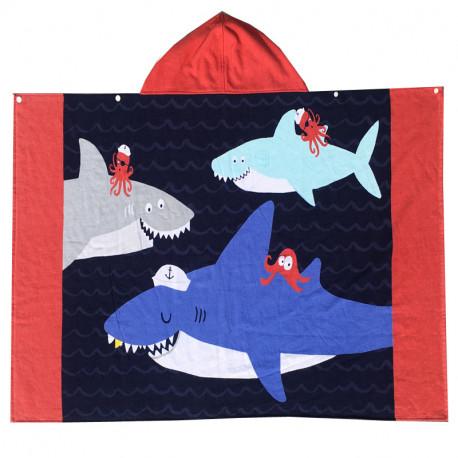 Полотенце махровое с капюшоном. Акулы и крабы. 76*127 см.
