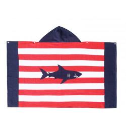 Полотенце махровое с капюшоном. Опасная акула. 76*127 см.