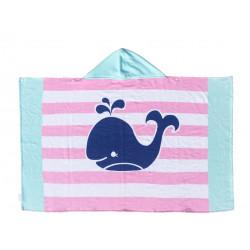 Полотенце махровое с капюшоном. Веселый кит. 76*127 см.