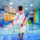 Полотенце махровое с капюшоном. Единорог на радуге. 76*127 см.