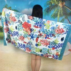 Полотенце махровое, банное. Цветные кораллы. 85 см * 170 см.