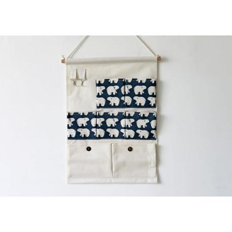 Подвесной органайзер с карманами, белый. Полярный медведь. (7 карманов)
