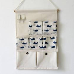 Подвесной органайзер с карманами, белый. Синий кит. (7 карманов)