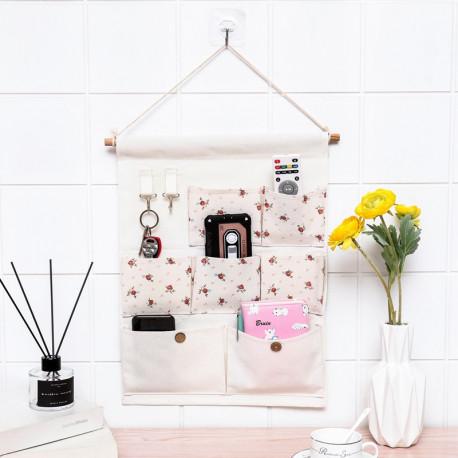 Подвесной органайзер с карманами, белый. Чайная роза. (7 карманов)