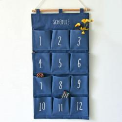 Подвесной органайзер с карманами, синий. Цифры. (12 карманов)