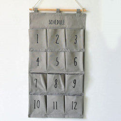 Подвесной органайзер с карманами, серый. Цифры. (12 карманов)