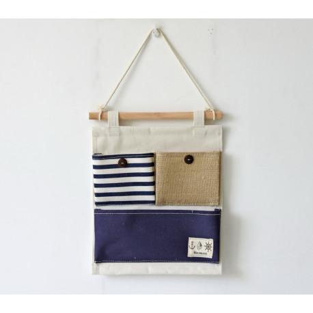 Подвесной органайзер с карманом, синий. Морская тематика. ( 3 карман )