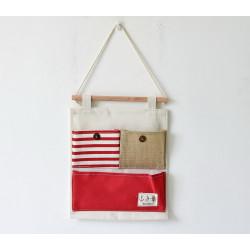 Подвесной органайзер с карманом, красный. Морская тематика. ( 3 кармана )