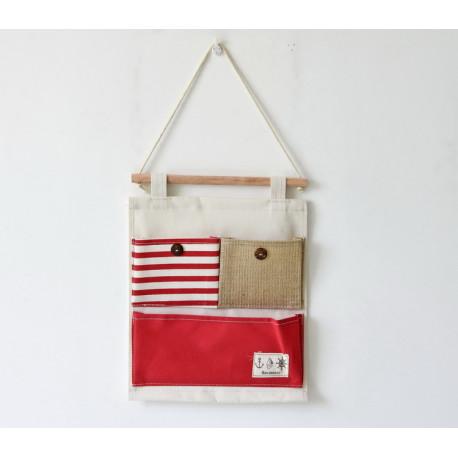 Подвесной органайзер с карманом, красный. Морская тематика. ( 3 карман )