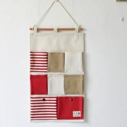 Подвесной органайзер с карманами, красный. Морская тематика. (8 карманов)