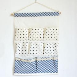 Подвесной органайзер с карманами, синий. Горошек и клеточка. (8 карманов)