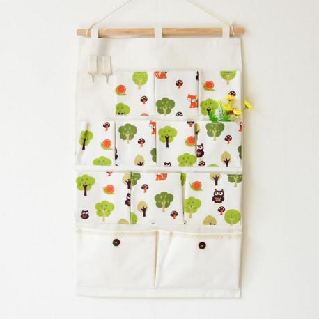 Подвесной органайзер с карманами, белый. Лиса в лесу. (12 карманов)