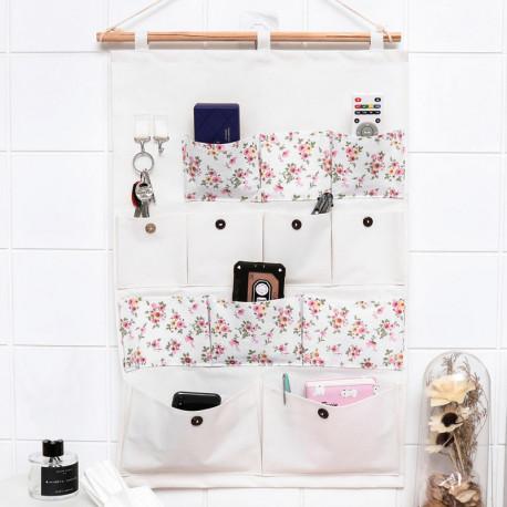 Подвесной органайзер с карманами, белый. Букет цветов. (12 карманов)