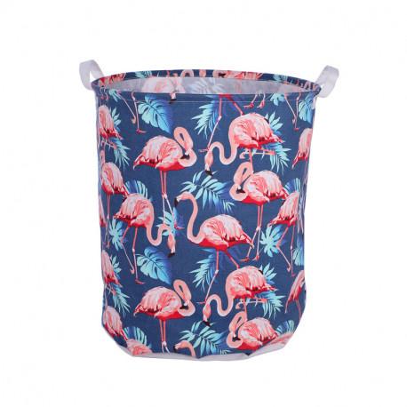 Корзина для игрушек, синяя. Фламинго и листья.