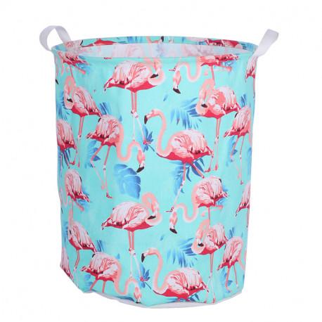 Корзина для игрушек, мятная. Фламинго и листья.