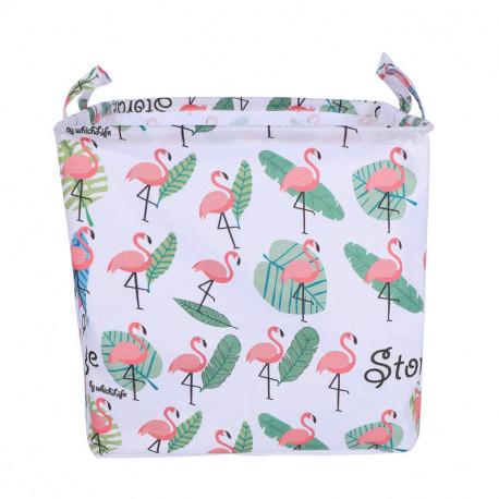 Корзина для игрушек, прямоугольная,белая. Фламинго и пальмовые листья.