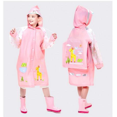 Дождевик детский, розовый. Жирафик.