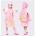 Дождевик детский, розовый. Жирафик. (прозрачный рукав)