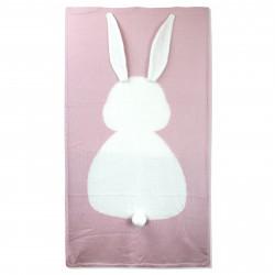 Вязаный плед, детский, розовый. Зайка. 70*120 см.