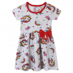 Платье для девочки, серое. Единорог и кометы.