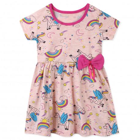Платье для девочки, пудровое. Пегас и радуга.
