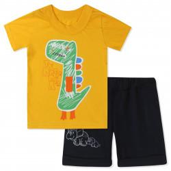 Костюм для мальчика, желтый. Нарисованный дино.