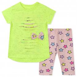 Костюм для девочки, салатовый с розовым. Неоновые звезды.