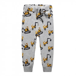 Штаны для мальчика, серые. Желтые экскаваторы.