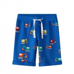 Шорты для мальчика, синие. Разноцветные бульдозеры.