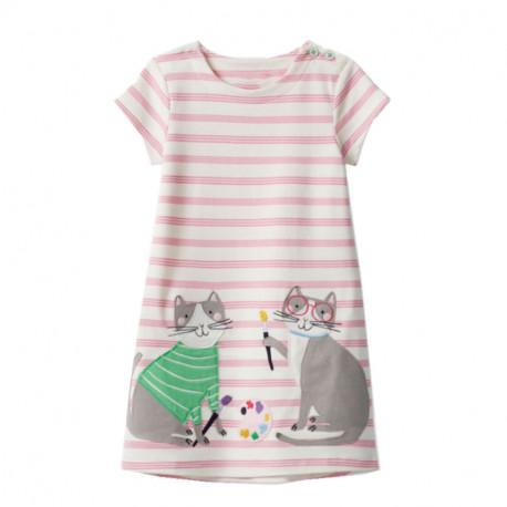 Платье для девочки, розовое. Котики - художники.