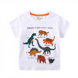 Футболка для мальчика, белая. Динозавры и другие вымершие животные.