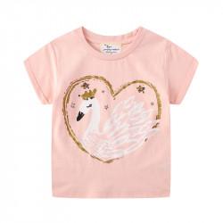 Футболка для девочки, розовая. Принцесса - лебедь.