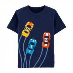 Футболка для мальчика, синяя. Гоночные машины.