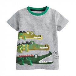 Футболка для мальчика, серая. Семья крокодилов.