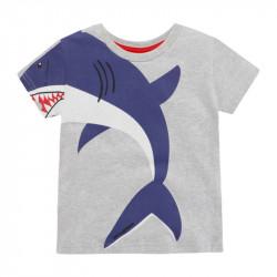 Футболка для мальчика, серая. Тигровая акула.