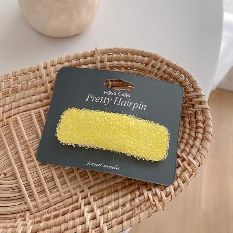 Заколка для волос, желтая. Роса.