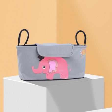 Сумка - багажник для коляски, карман на коляску. Слон розовый