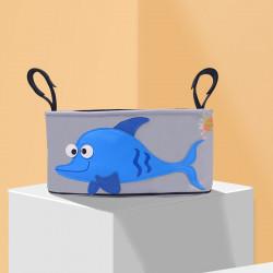 Сумка - багажник для коляски, карман на коляску. Рыба.