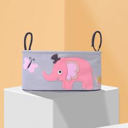 Сумка - багажник для коляски, карман на коляску. Розовый слоник.