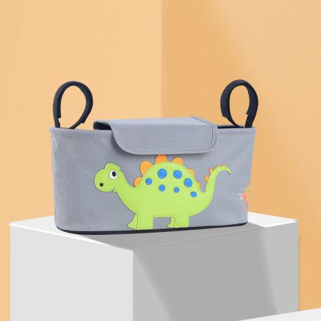 Сумка - багажник для коляски, карман на коляску, с крышкой. Стегозавр.