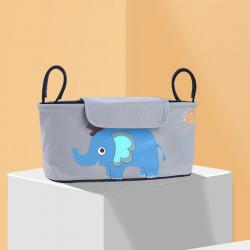 Сумка - багажник для коляски, карман на коляску, с крышкой. Голубой слон.