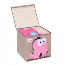 Складной ящик для игрушек с крышкой. Розовый Динозавр.
