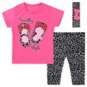 Костюм для девочки 3 в 1, розовый. Леопардовые балетки.