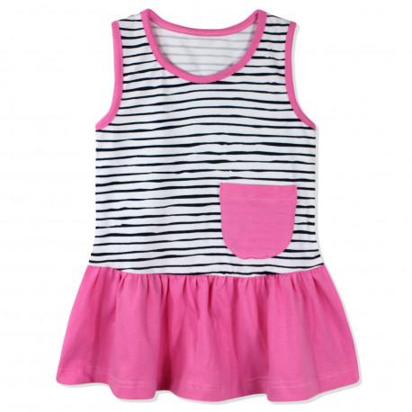 Сарафан для девочки, розовый. Милая полоска.