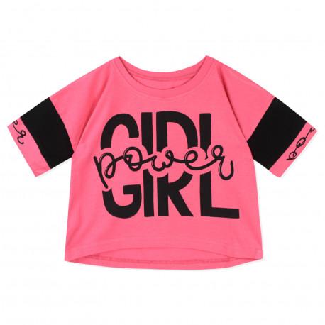 Футболка для девочки, топ, розовая. Power Girl.