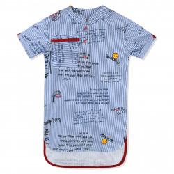 Удлиненная рубашка для девочки, голубая. Смешные смайлы.