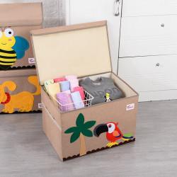 Складной ящик для игрушек с крышкой. Попугай.