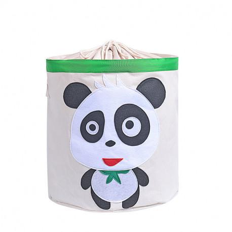 Корзина для игрушек на завязках, белая. Панда.
