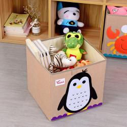 Складной ящик для игрушек, коричневый. Пингвин.