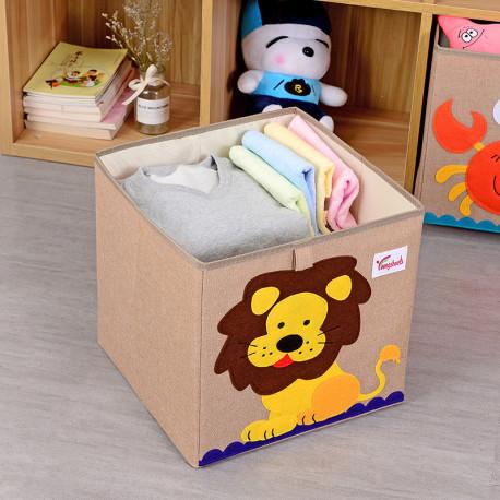 Складной ящик для игрушек, коричневая. Лев.